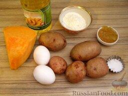 Оладьи из картофеля и тыквы: Продукты для приготовления оладий из картофеля и тыквы.