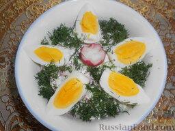 Салат из редиса с огурцами и со сметаной: Посыпать салат зеленью. Подавать салат из редиса с огурцами и сметаной к столу сразу после приготовления, так как, постояв незначительное время в холодильнике, он потеряет свои полезные свойства.    Приятного аппетита!