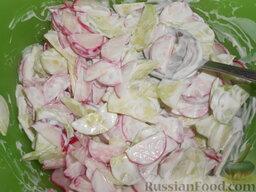 Салат из редиса с огурцами и со сметаной: Перемешать салат.
