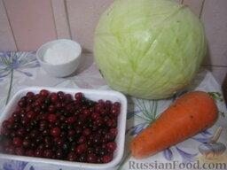 Квашеная капуста с клюквой: Продукты для рецепта Квашеная капуста с клюквой перед вами.