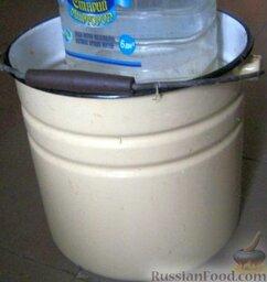 Квашеная капуста с клюквой: Положить капусту в подготовленную посуду для квашения и хорошо уплотнить. Сверху положить груз и оставить капусту с клюквой в комнате. Обязательно несколько раз в день протыкать капусту до самого дна, чтобы выпустить воздух. Когда прекратится выделение газа, капусту переставить в прохладное место. Следить, чтобы капуста с клюквой была покрыта рассолом.