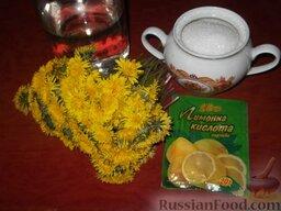 Варенье из одуванчиков, или одуванчиковый мед: Продукты для приготовления варенья из одуванчиков.
